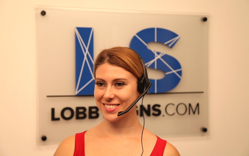 Picture of a professional lobby sign with receptionist