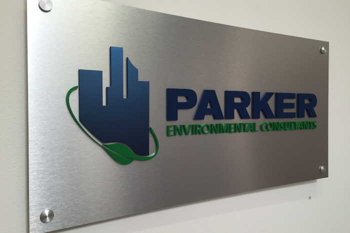 brushed aluminum plaque with dimensional letters