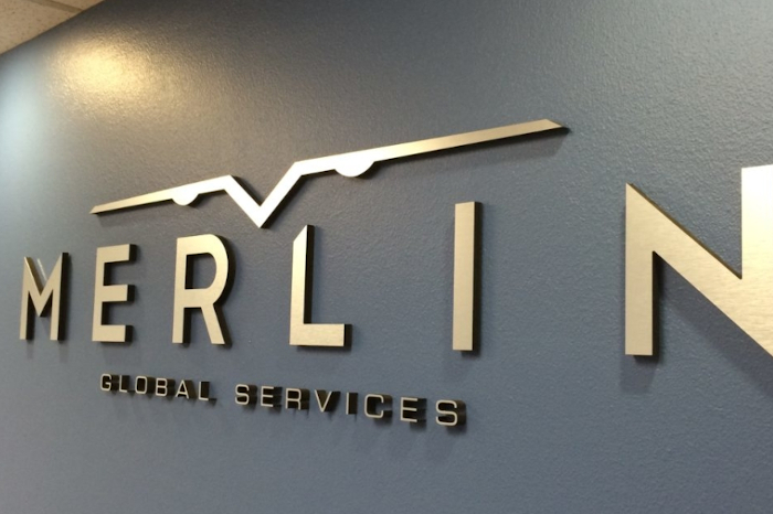 brushed aluminum letters make this lobby look amazing